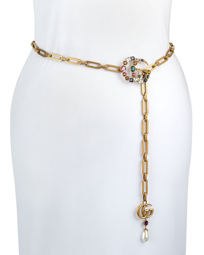 Crystal-Embellished Double-G Chain Belt