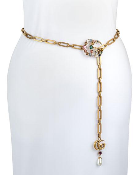 Crystal-Embellished Double-G Chain Belt