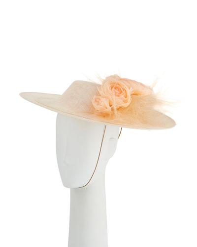 Overlaid Straw Derby Hat w/ Rosettes