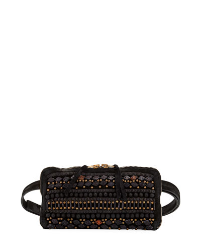 Beaded-Embroidered Goatskin Belt Bag