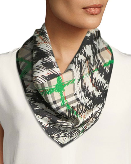 Scribble Check Silk Scarf