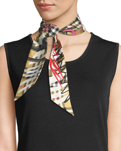 Scribble Check Silk Twill Slim Scarf