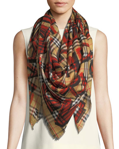 Graffiti-Print Check Wool-Silk Large Square Scarf