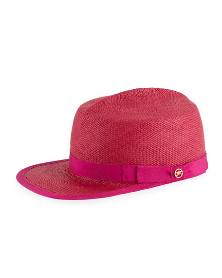 GLADYS TAMEZ King Straw Cap in Fuchsia