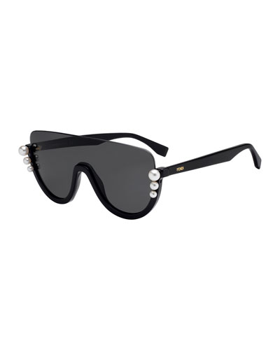 Semi-Rimless Solid Pane Shield Sunglasses w/ Pearly Beads