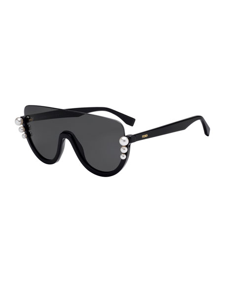 Fendi Semi-Rimless Solid Pane Shield Sunglasses w/ Pearly