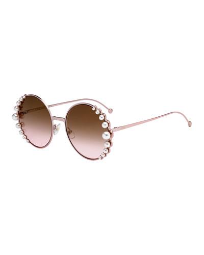 Round Metal Sunglasses w/ Pearly Trim