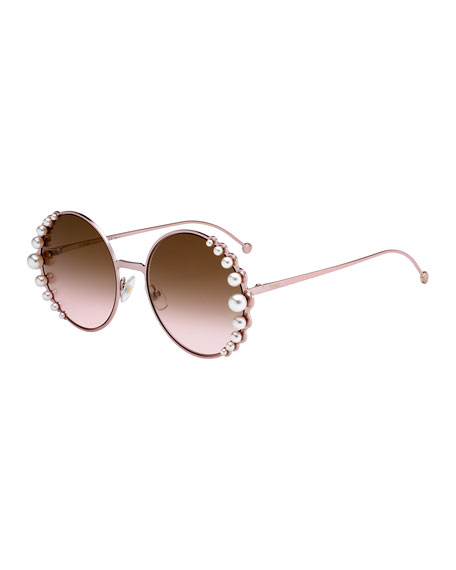 Fendi Round Metal Sunglasses w/ Pearly Trim