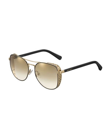 Sheenas Round Mirrored Sunglasses w/ Star Side Blinders