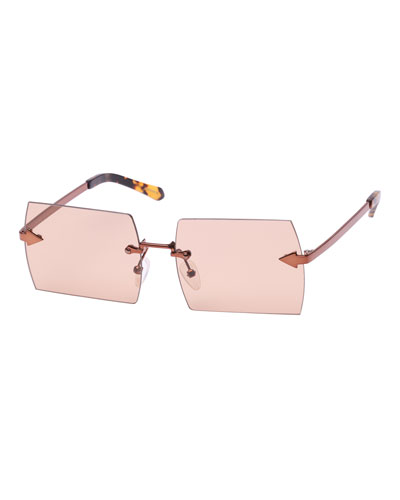 The Bird Rimless Rectangle Sunglasses, Brown Pattern
