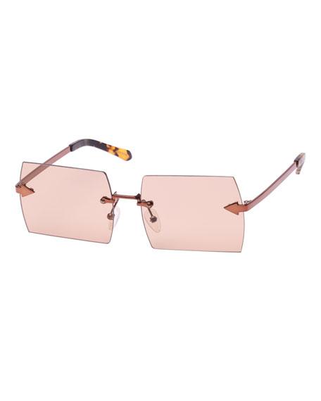 Karen Walker The Bird Rimless Rectangle Sunglasses, Brown