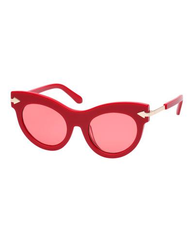 Miss Lark Cat-Eye Acetate Sunglasses  Red Pattern