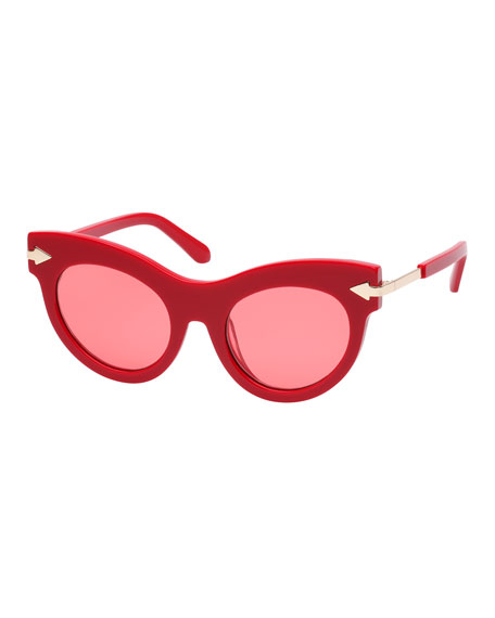 Karen Walker MISS LARK CAT-EYE ACETATE SUNGLASSES, RED PATTERN