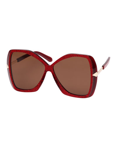 Mary Acetate Butterfly Sunglasses, Red Pattern