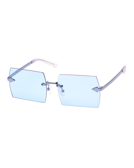 Karen Walker The Bird Rimless Rectangle Sunglasses, Blue