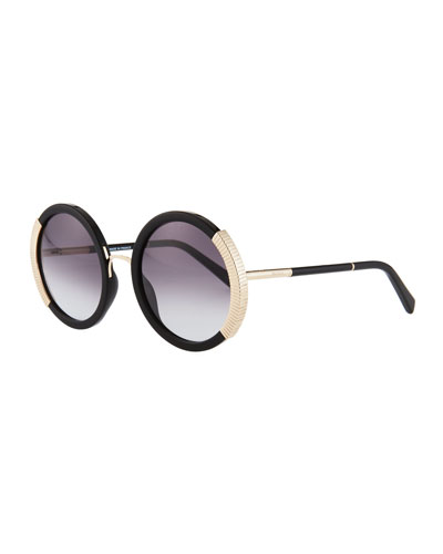 Round Gradient Acetate Sunglasses w/ Ridged Metal Trim