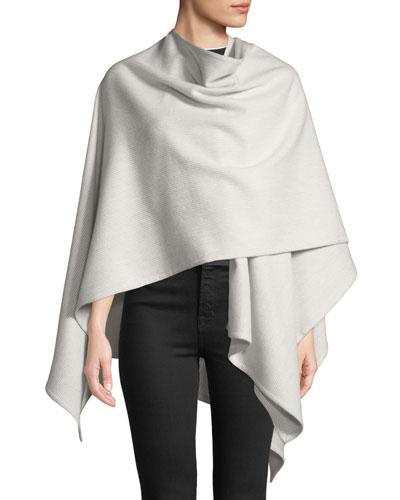 Skinny-Stripe Wool Wrap Poncho