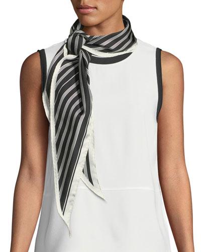 Narrow Striped Silk Scarf