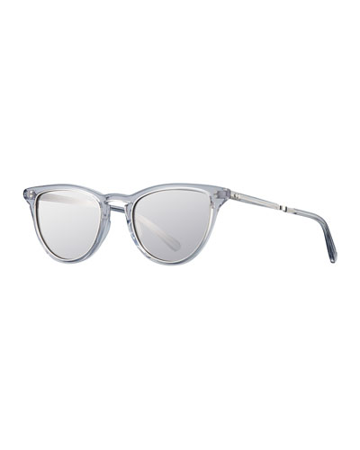 Mirrored Cat-Eye Acetate Sunglasses, Gray