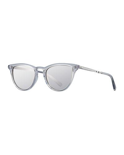 Mirrored Cat-Eye Acetate Sunglasses, Gray