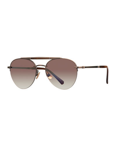 Platinum Plated Titanium Aviator Sunglasses w/ Acetate Trim, Brown/Gold