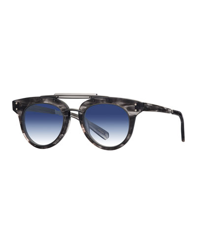 Gradient Acetate Cat-Eye Sunglasses, Blue/Gray