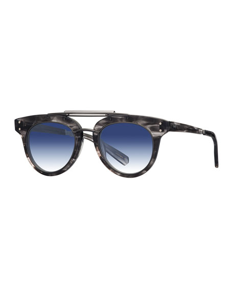 Mr. Leight Gradient Acetate Cat-Eye Sunglasses, Blue/Gray