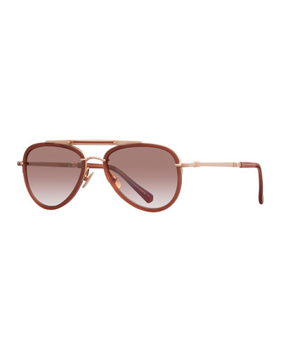 18K Rose Gold Plated Titanium Aviator Sunglasses w/ Acetate Trim, Rose Gold