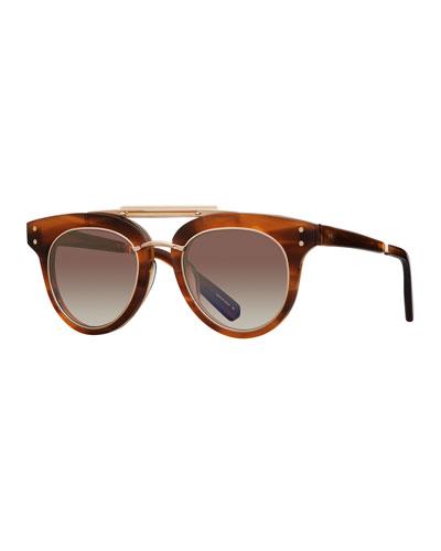 Gradient Acetate Cat-Eye Sunglasses, Brown Pattern