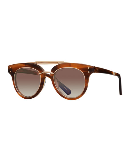 Mr. Leight Gradient Acetate Cat-Eye Sunglasses, Brown Pattern