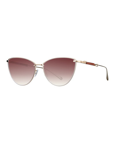 12K White Gold Plated Titanium Cat-Eye Sunglasses, Gold