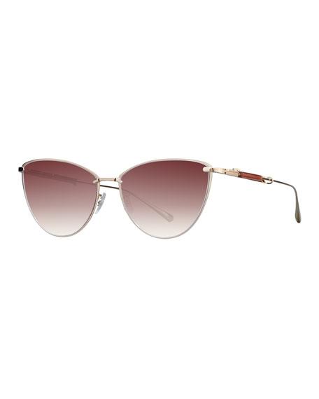 12K White Gold Plated Titanium Cat-Eye Sunglasses, Gold