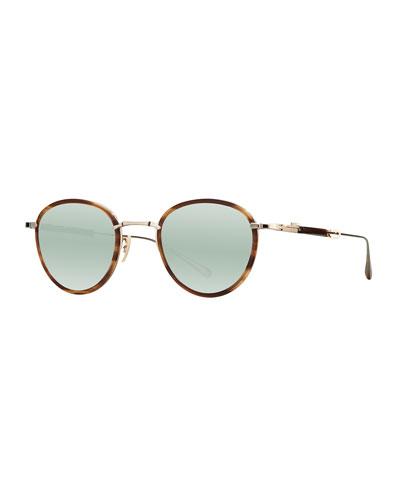Round Mirrored Titanium & Acetate Sunglasses, Green/Gold