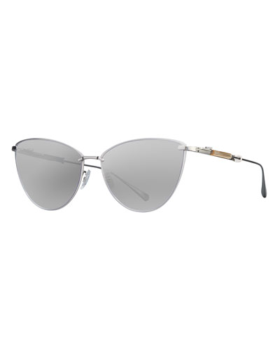 Platinum Plated Titanium Cat-Eye Sunglasses, Gray/Black