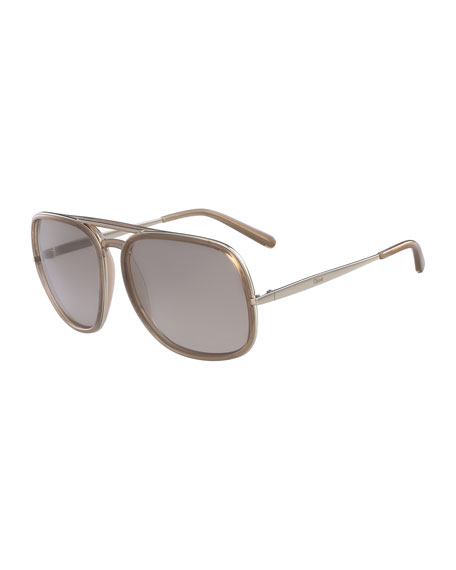 Chloe Square Aviator Sunglasses