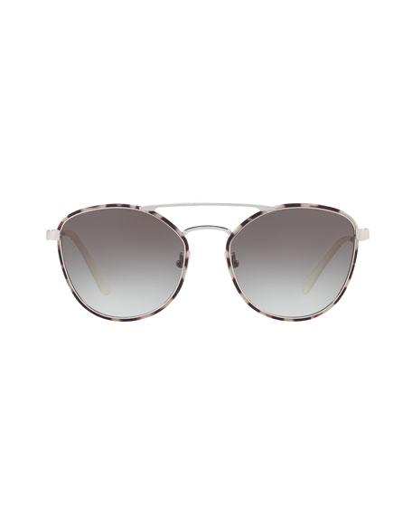 Gradient Curved-Brow Square Sunglasses
