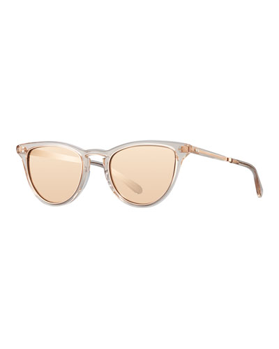 Mirrored Cat-Eye Acetate Sunglasses, Rose Gold