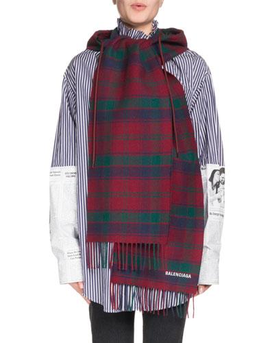 Tartan Hooded Wool Scarf, Red/Green