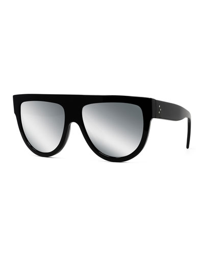 Flattop Gradient Shield International-Fit Sunglasses, Black Pattern
