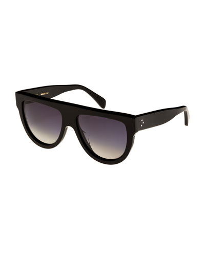 Flattop Gradient Shield Adjusted-Fit Sunglasses, Black Pattern