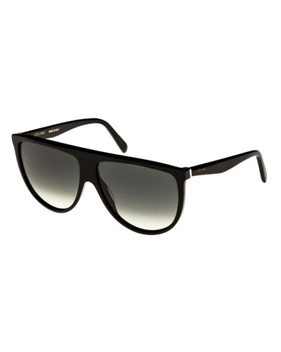 Flattop Gradient Shield International-Fit Sunglasses, Black