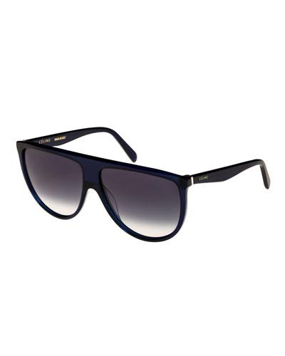 Flattop Gradient Shield Sunglasses, Blue Pattern