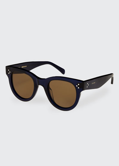 Studded Round Acetate Sunglasses, Blue Pattern