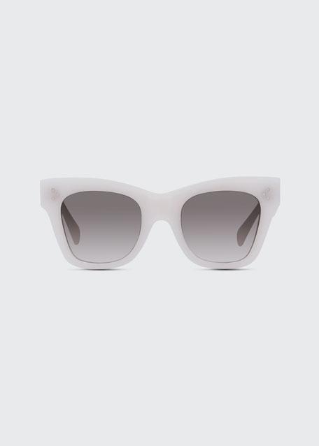 Two-Tone Gradient Cat-Eye Sunglasses, Black Pattern