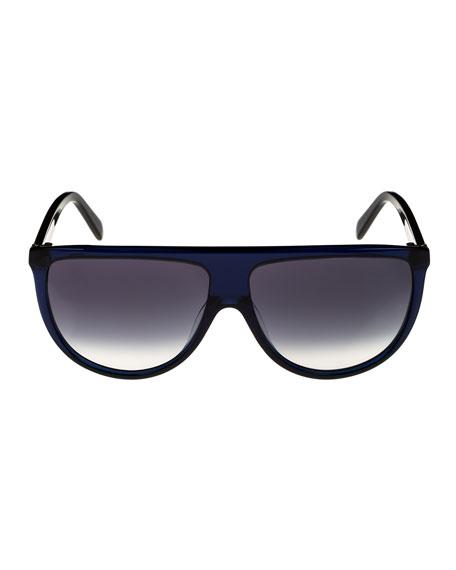Flattop Gradient Shield Adjusted-Fit Sunglasses, Blue Pattern