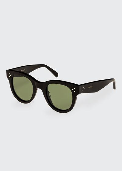Studded Acetate Sunglasses w/ Mineral Lenses  Black