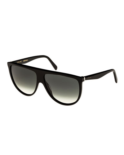 Flattop Gradient Shield Adjusted-Fit Sunglasses, Black