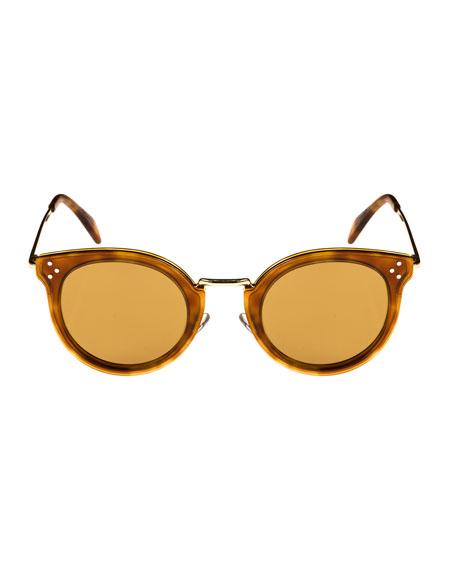Round Acetate & Metal Sunglasses w/ Mineral Lenses, Medium Brown