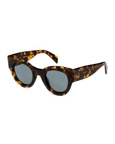 Acetate Cat-Eye Universal-Fit Sunglasses, Medium Brown