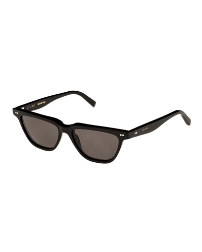 Cat-Eye Monochromatic Acetate Sunglasses, Black